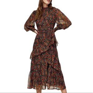 NWT Topshop Floral Ruffle Midi Dress